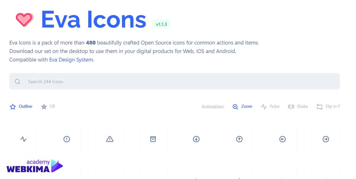 بهترین سایتهای دانلود آیکون های متن باز - سایت Eva Icons